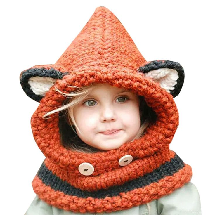 Baby Girl Hat Winter Cat Fox Ear Caps Windproof Baby Hats and Scarf Set
