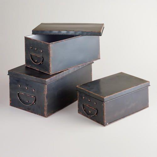 """One of my favorite discoveries at WorldMarket.com: Espresso Austin Metal Box Small: 12.6""""W x 7.25""""L x 5.25""""H; Medium: 14.3""""W x 8""""L x 6.25""""H; Large: 15.75""""W x 9.25""""L x 13""""H"""