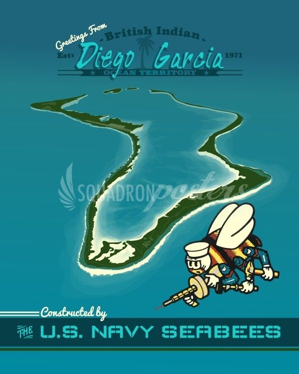 Diego Garcia US Navy Seabees vintage print. Sailor retro poster for remote tropical island. Military poster print.