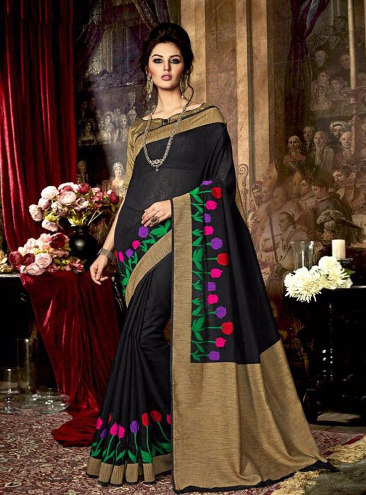 Black Silk Embroidery Work Saree 81457