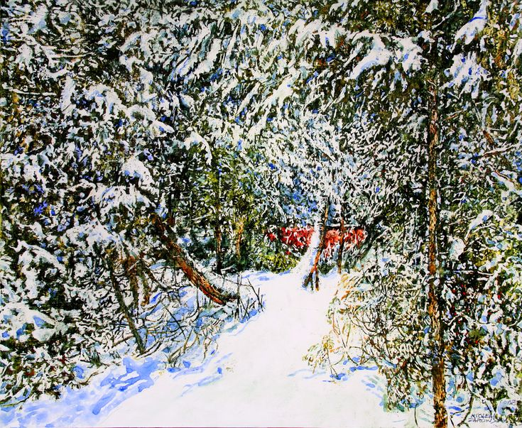 "micheal zarowsky - overnight snowfall 19 - 30"" x 36""   watercolour / acrylic painted directly on gessoed birch panel"