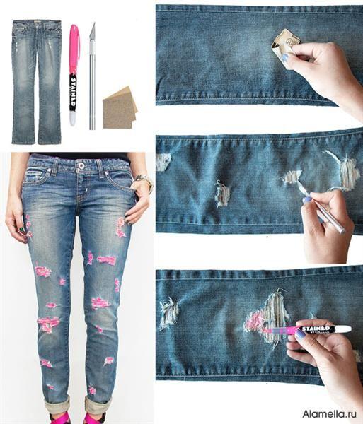 Как правильно сделать рванные джинсы