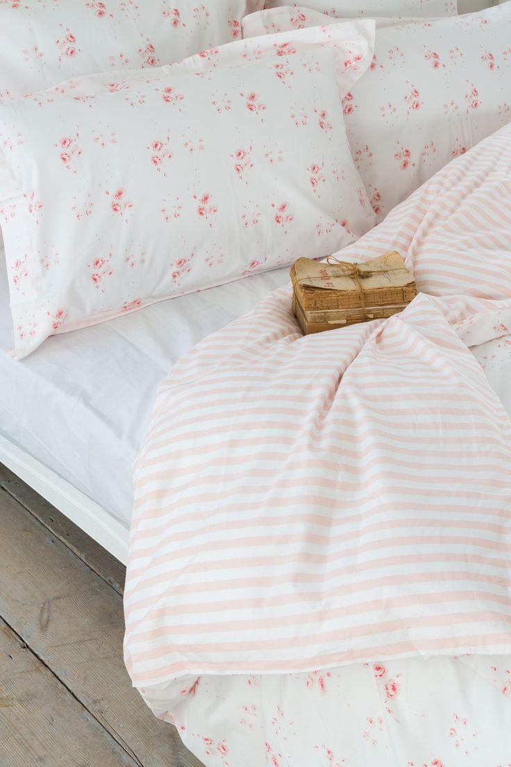 CABBAGES & ROSES for John Lewis | Catherine Rose Pink/Little Stripe Rose Bed Linen