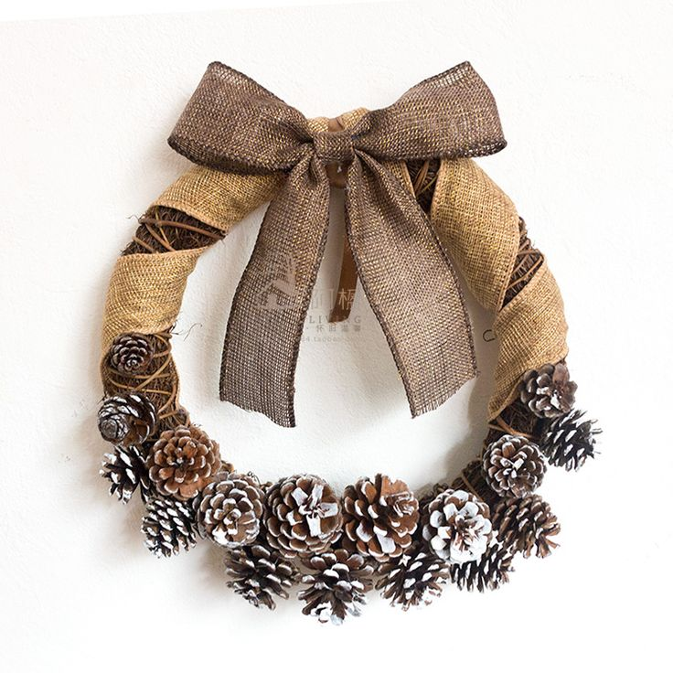 FREE SHIPPING Christmas Decoration 27cm natural White pine gold hemp bow wreath fashion door trim decoration for christmas