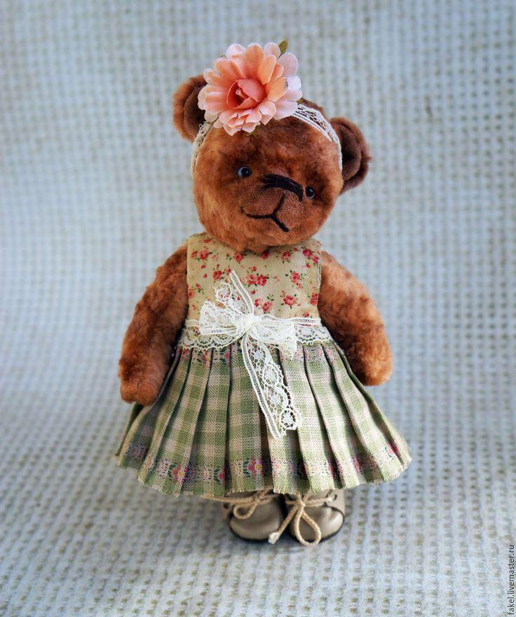Купить Маленький цветочек - кремовый, мишка тедди, тедди, плюш винтажный