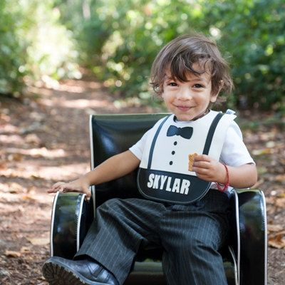 Mally Bibs Leather Stain Resistant Bib Bowtie Bib by MallyDesigns, $35.00