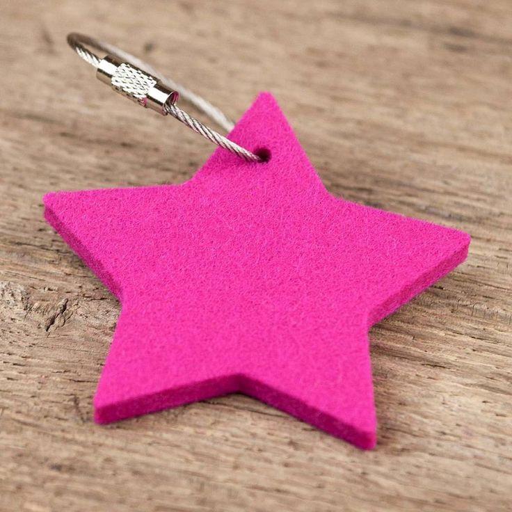 filz schl sselanh nger stern pink mit stahlseil. Black Bedroom Furniture Sets. Home Design Ideas