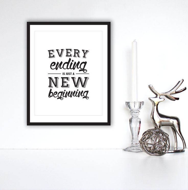 "Motivational Print, Inspirational quote, ""Every Ending Is Just A New Beginning""  Typography Poster, Wall Art, by TheDesignHouzz on Etsy"