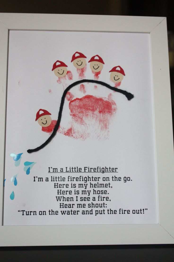 """fire truck party handprint craft - this is so cute! I am using it for my Colors themed week """"RED"""". rh"""