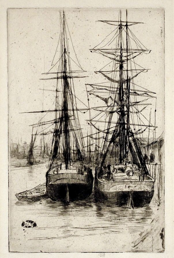 James Whistler, The Two Ships, etching and drypoint, 1875