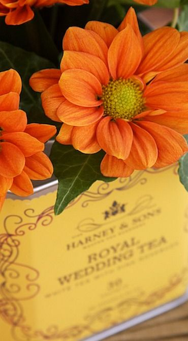 Repurposed Tea Tin Flower Vases