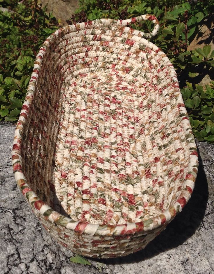 Fabric wrapped, coiled rope bread basket by Andrea
