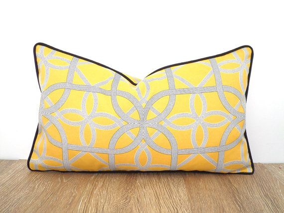 Yellow Outdoor Pillow Case Modern Outdoor Patio Decor, Geometric Outdoor  Cushion, Yellow And Black Outdoor Pillow Case, Trellis Cushion