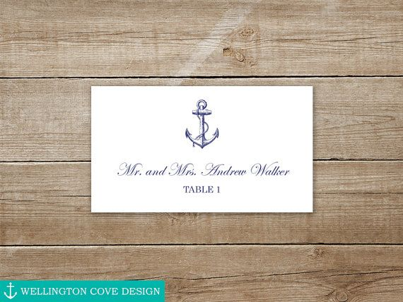 This Listing Is For A Customizable Nautical Wedding Place Cards Template Microsoft Word Featuring An