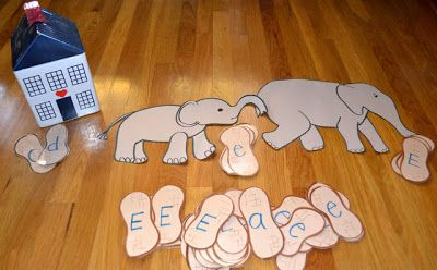 Baby elephants eat the little letters; Daddy elephants eat the big letters