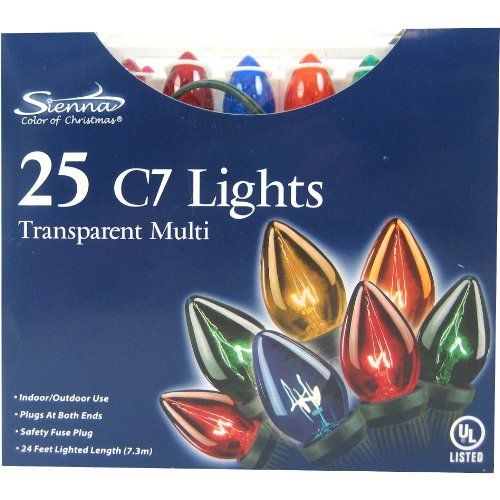 "C7 Christams Light Set, Multi-Colored by Good Tidings. $13.97. 12"" spacing between bulbs, 25' total length. Multi-colored transparent bulbs. Up to 2 sets can be strung together. Replacement bulbs Ace No. 97401, fuses Ace No. 9814286. UL listed. C7 INDOOR/OUTDOOR 25 LIGHT SET   Up to 2 sets can be strung together   12"" spacing between bulbs, 25' total length  Replacement bulbs Ace No. 97401, fuses Ace No. 9814286   UL listed   Multi-colored transparent bulbs   Boxed"