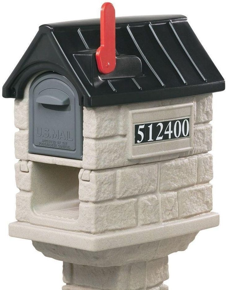 MailMaster Stone Brick Look Post Mount Plastic Mailbox With Newspaper Holder #Step2