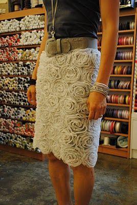rosette skirt: Mesh Skirts, Make A Skirts, White Rose, Rosette Mesh, Sewing Tips, Fabrics Patterns, Rose Skirts, Cute Skirts, Rosette Skirts