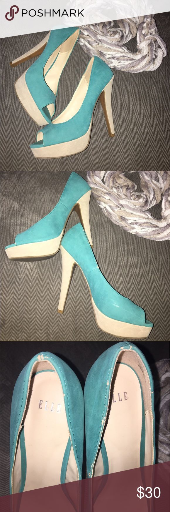 Elle Platform Pumps 👠 Used Condition, some peeling and cleaning needed (see pics) Very cute w/Suede like material in teal and tan colors. Platform front. Elle Shoes Heels
