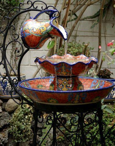 spanish+decorations | Love this fountain | Down on the Farm.  [ MexicanConnexionForTile.com ] #design #Talavera #handmade