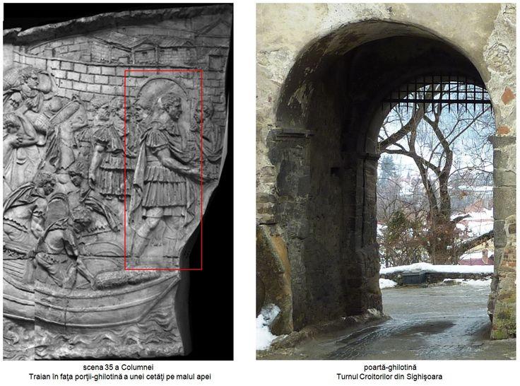 Poarta de vest a fortificaţiei romane timpurii era o poartă-gilotină, iar în scena 35 a Columnei, Traian se află în faţa unei porţi-ghilotină a unei cetăţi amplasată pe malul apei.
