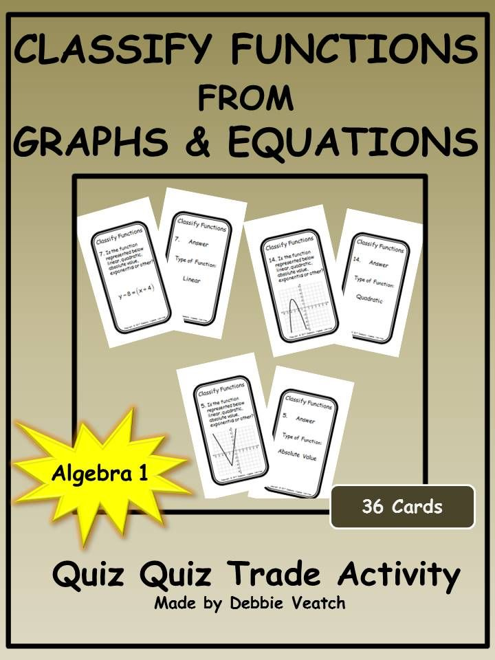 A Fun Large Group Activity To Practice Or Review Determining If A Function Represented By A Graph Or Equation Is Quadratics Algebra Activities Quiz Quiz Trade