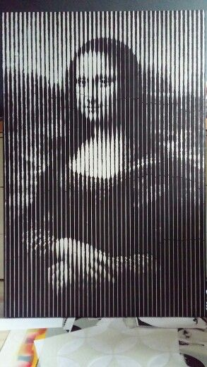 Mona Lisa Work in progress Acrylic paint and spray 120x80 #painting #monalisa #art #stencil #halftone #adamraid
