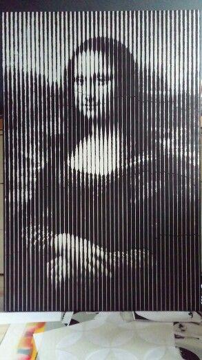 Mona Lisa Work in progress Acrylic paint and spray 120x80 #painting #monalisa #art #stencil #halftone #adamraid