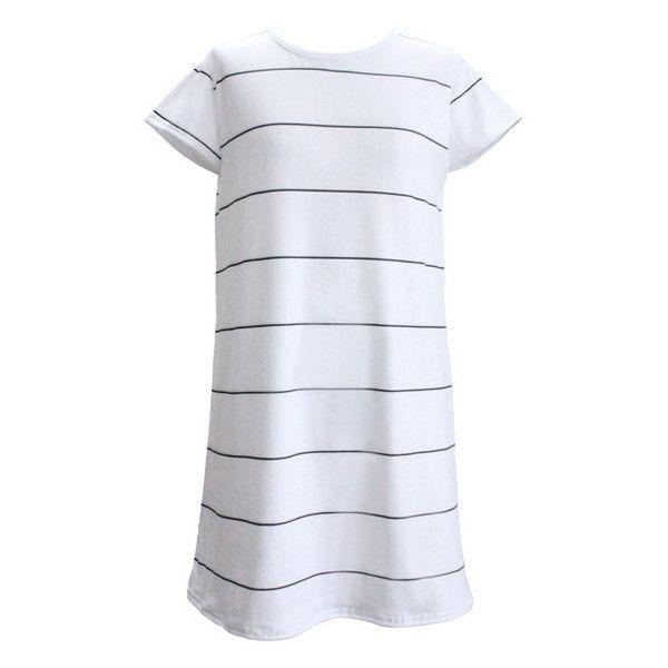 White Pinstripe T-Shirt Dress Lookbook Store ($17) ❤ liked on Polyvore featuring dresses, t shirt dress, tshirt dress, white day dress, pinstripe dress and tee shirt dress