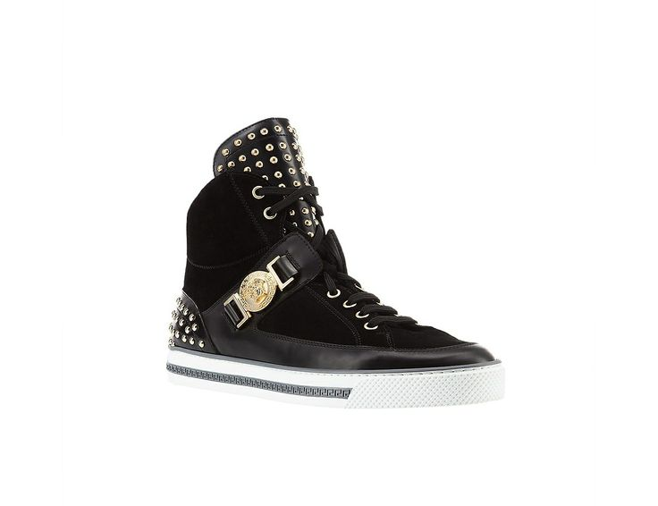 Versace Studded High-Top Sneakers. #VersaceSneakers #Versace