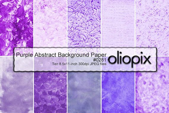 Purple Abstract Watercolor Texture Background Paper, Digital Collage Sheets, 10x 8.5x11-inch papers - Oliopix