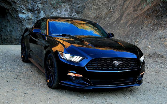 Télécharger fonds d'écran La Ford Mustang, la voiture de sport Américaine, noir mustang, tuning, voitures Américaines, Ford