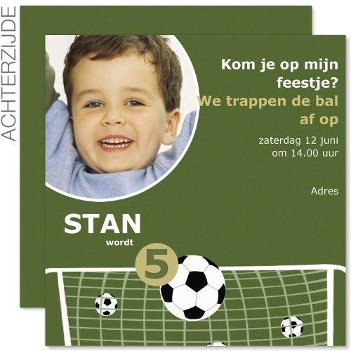 Verjaardagskaarten jongens - Voetbal uitnodiging