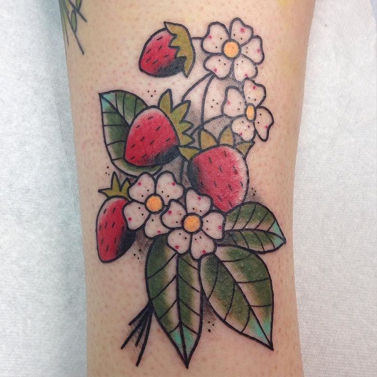 Thanks Hilary for getting the strawberry flash! More strawberries please  see you in a few weeksn by kiki_tattoos You can follow me at @JayneKitsch