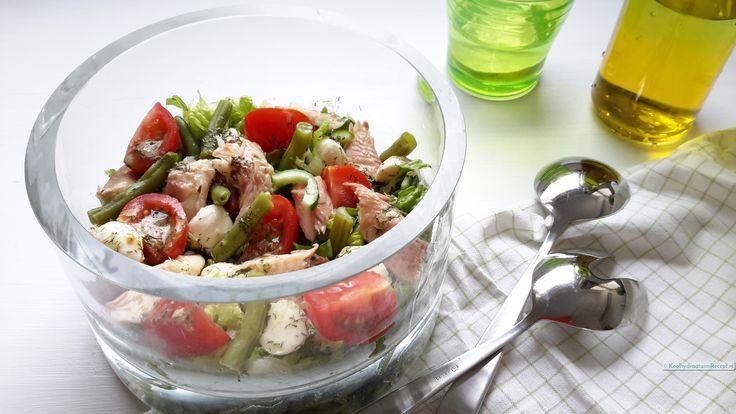 Deze overheerlijke forel salade met mozzarella en sperzieboontjes zou ik zeker…