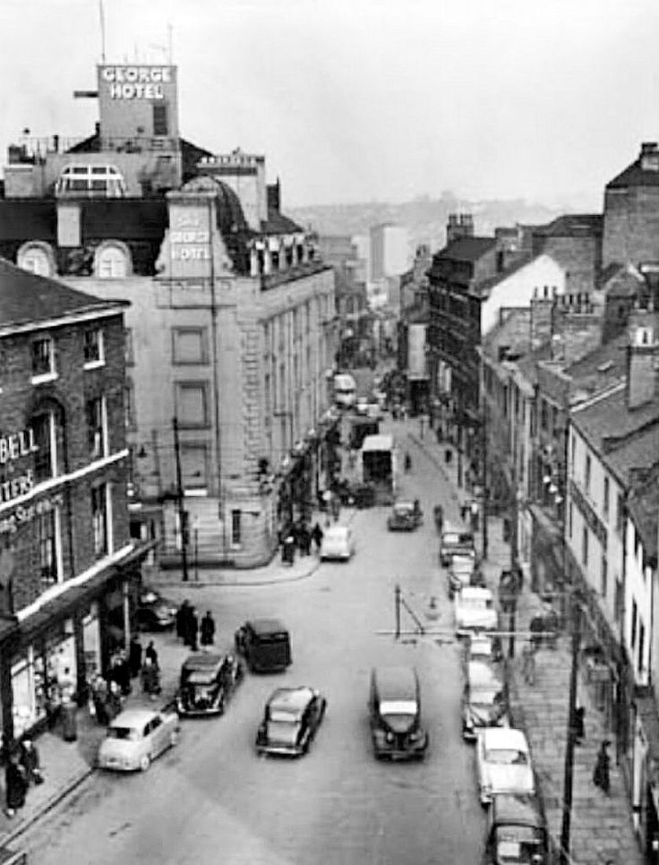 Carlton Street and Goosegate, looking towards Hockley, Nottingham, 1958.