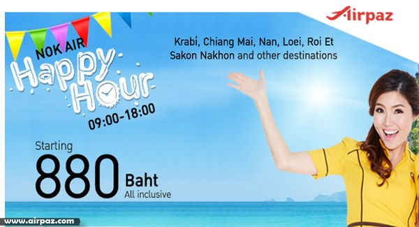 Happy Our Deal Promotion..!  Let's Fly to Krabi and Many more destination with Happy Hour Promotion with NokAir on Airpaz http://blog.airpaz.com/en/promo-flight-ticket-happy-hour-nokair-till-15-march-2015/