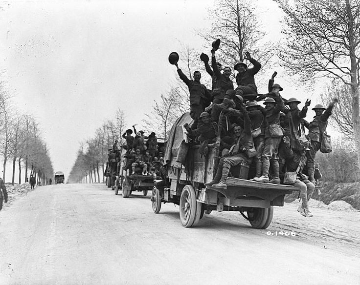 Canadian troops en route to a rest period after taking part in the capture of Vimy Ridge, May 1917
