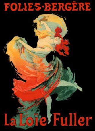 """Toulouse-Lautrec. """"La Loie Fuller, Folies -Bergere"""" Características: fundo negro, novidade radical, primazia da linha, corpo tratado com mancha sólida, forma uniforme, estampa japonesa, arte nova (francesa)"""