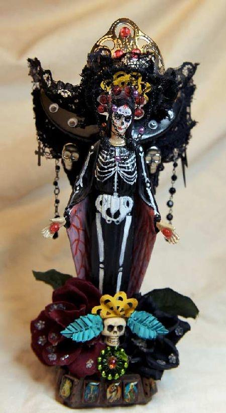 Santa Muerte, hand painted and junk   #santamuerte #mexico #dayofthedead