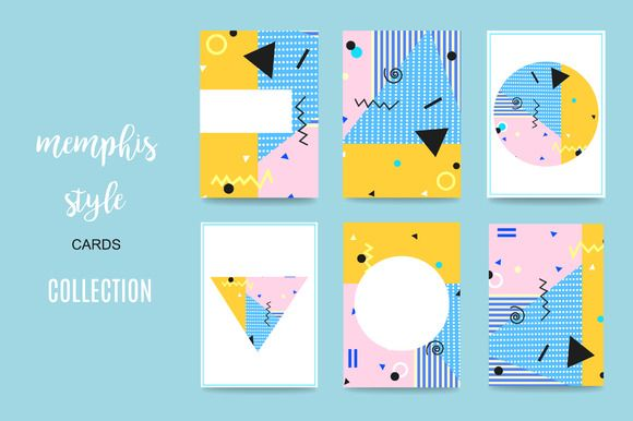 Memphis Style Cards by GingerArt on @creativemarket