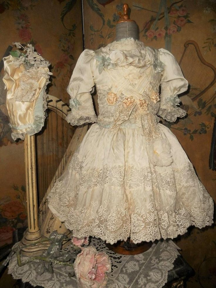 ~~~ Marvelous French Silk Costume with Bonnet ~~~ from whendreamscometrue on Ruby Lane