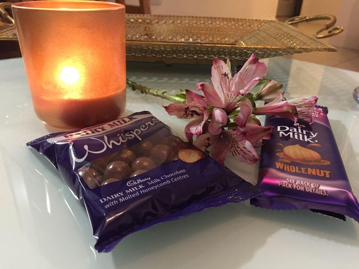 #cadbury #chocolate #wholenut #whispers #candle #flower #guiltypleasures #dairymilk #cadburybar #tray