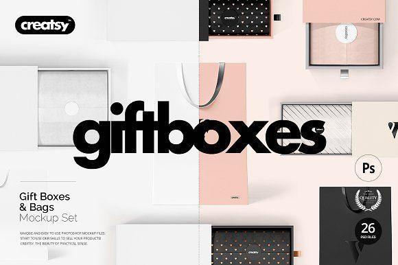 Download Gift Boxes And Bags Mockup Set Creative Market Bag Mockup Box Mockup