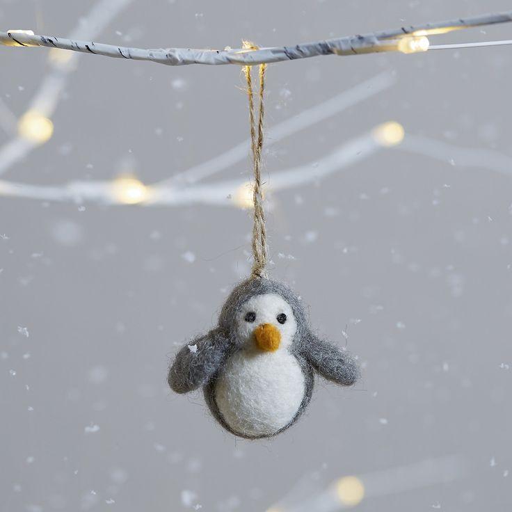 Mini Felt Penguin Decoration | Christmas Tree Decorations | Christmas Decorations | Christmas | The White Company UK