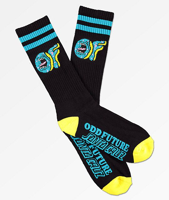 a9837250c30328 Odd Future x Santa Cruz Black   Yellow Crew Socks in 2019