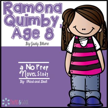 This is a novel study for the book Ramona Quimby, Age 8. It can be used for guided reading groups, individual reading, partner discussions, a whole class study, or as a read aloud companion. The students will respond to the book by answering comprehension questions and completing various reading response activities.