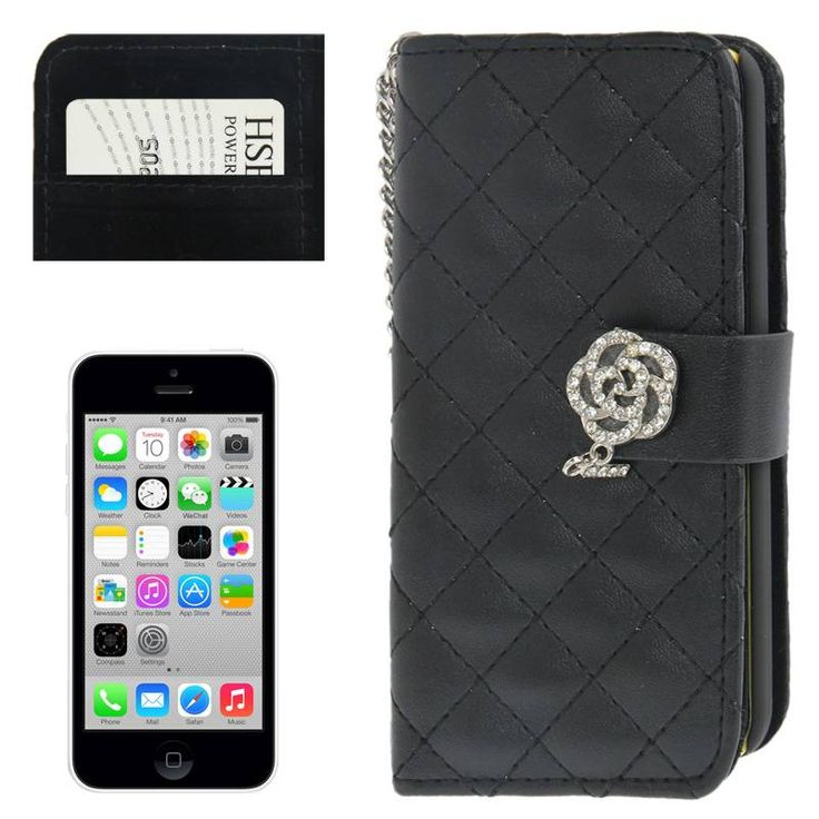 Zwarte pu leren Apple Iphone 5C horizontale flipcase met diamandlook sluiting