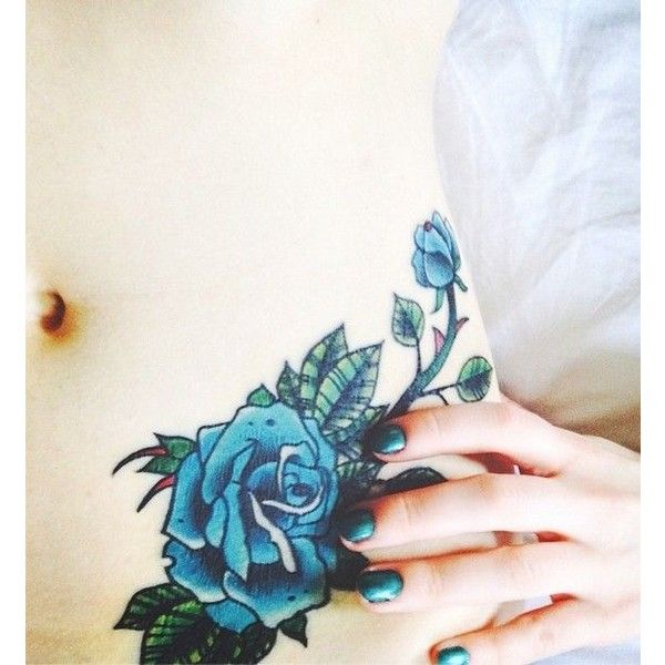 elegant blue rose with thorns watercolor tattoo on lower belly ❤ liked on Polyvore featuring accessories, body art and tattoos