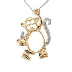 Two-tone Silver 1/10ct TDW Diamond Monkey Critter Necklace (J-K, I3) overstock.com: 1 10Ct Tdw, Monkey Critter, Diamonds Monkey, Tdw Diamonds, Critter Necklaces, Overstock Com Shops, Girls Bff, Silver 1 10Ct, Diamonds Necklaces